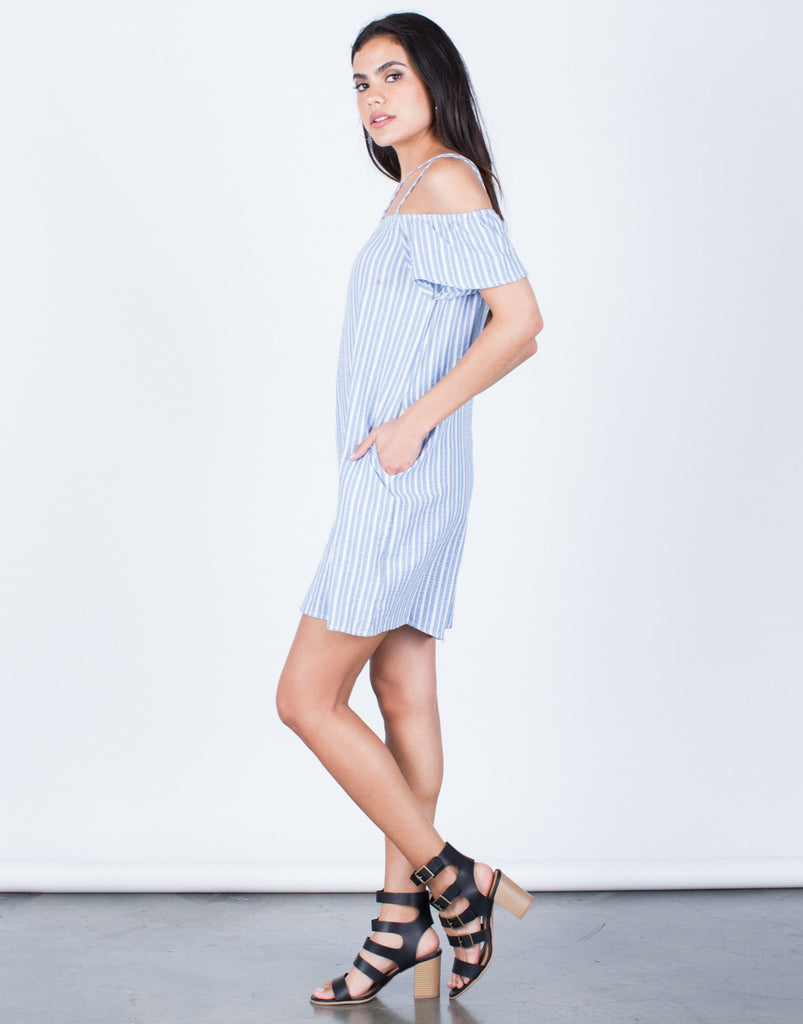 Side View of Striped Cold Shoulder Dress