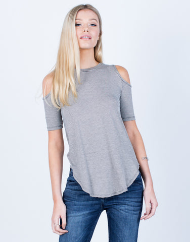 Front View of Striped Cold Shoulder Top