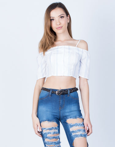 Front View of Striped Cold Shoulder Crop Top