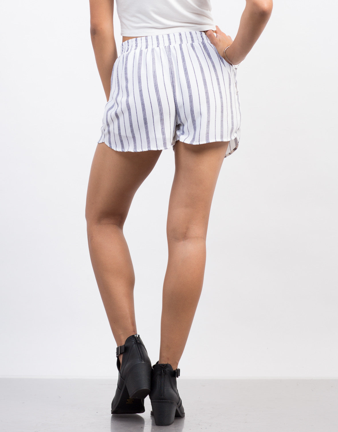 Back View of Striped Flowy Shorts