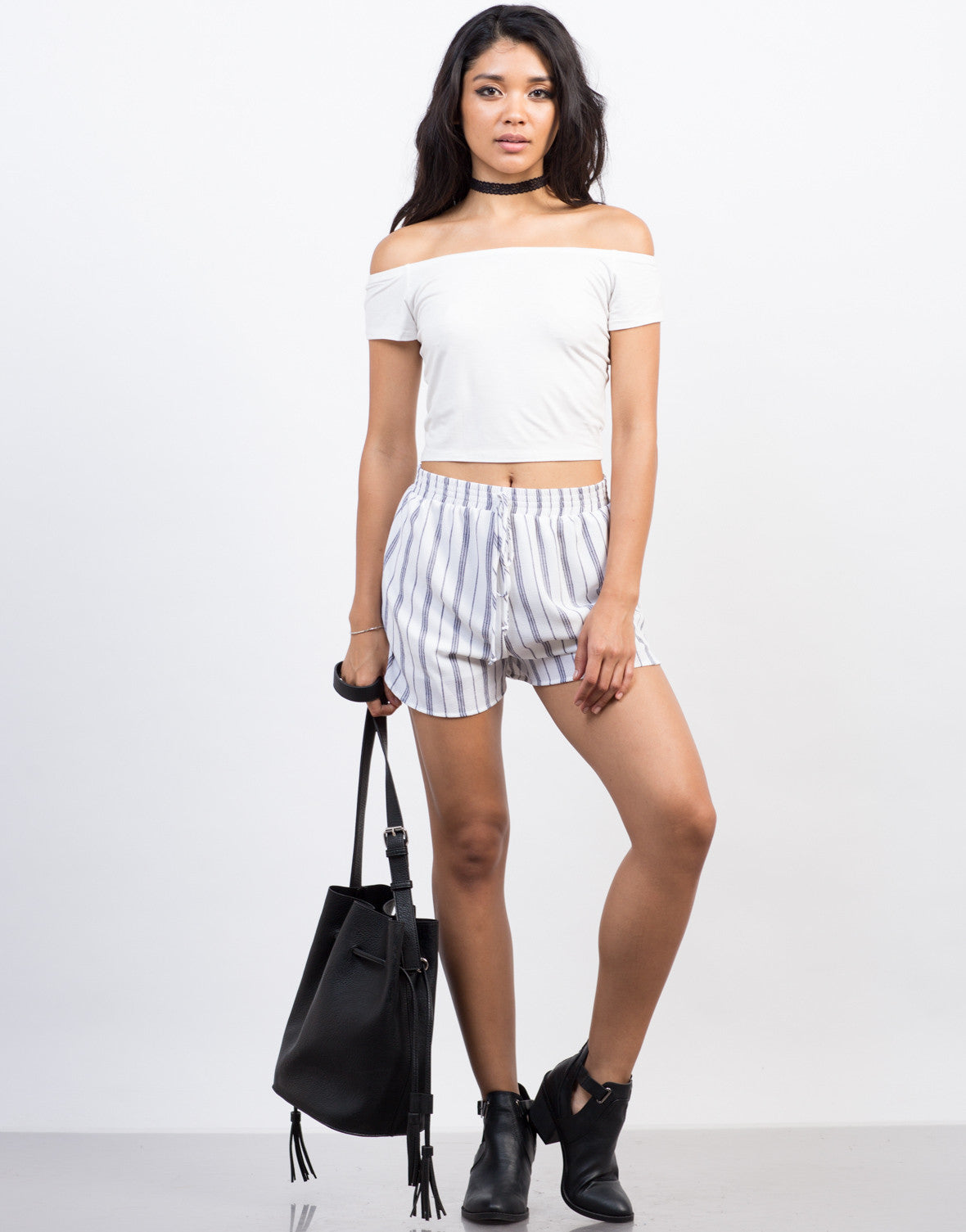 Front View of Striped Flowy Shorts