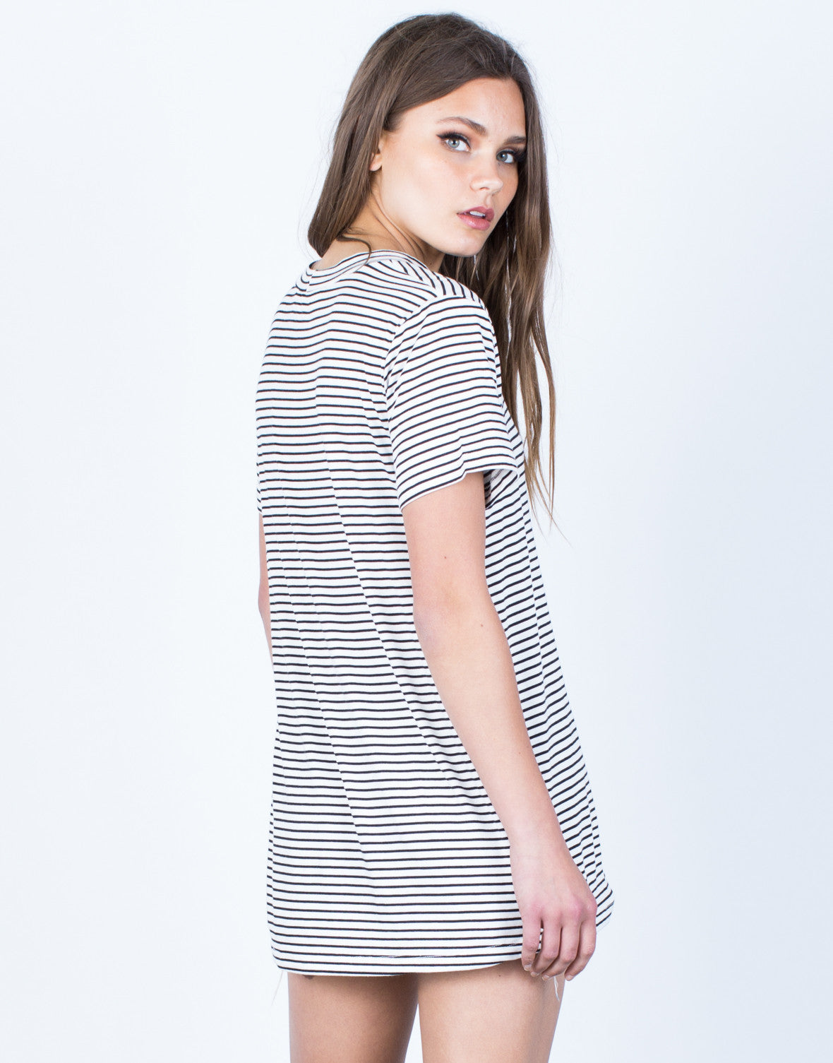 Back View of Striped Flowy Tunic