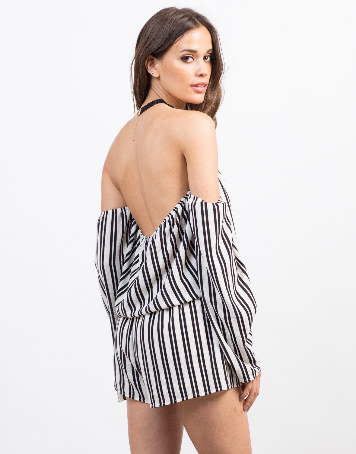 Back View of Striped Gauze Romper