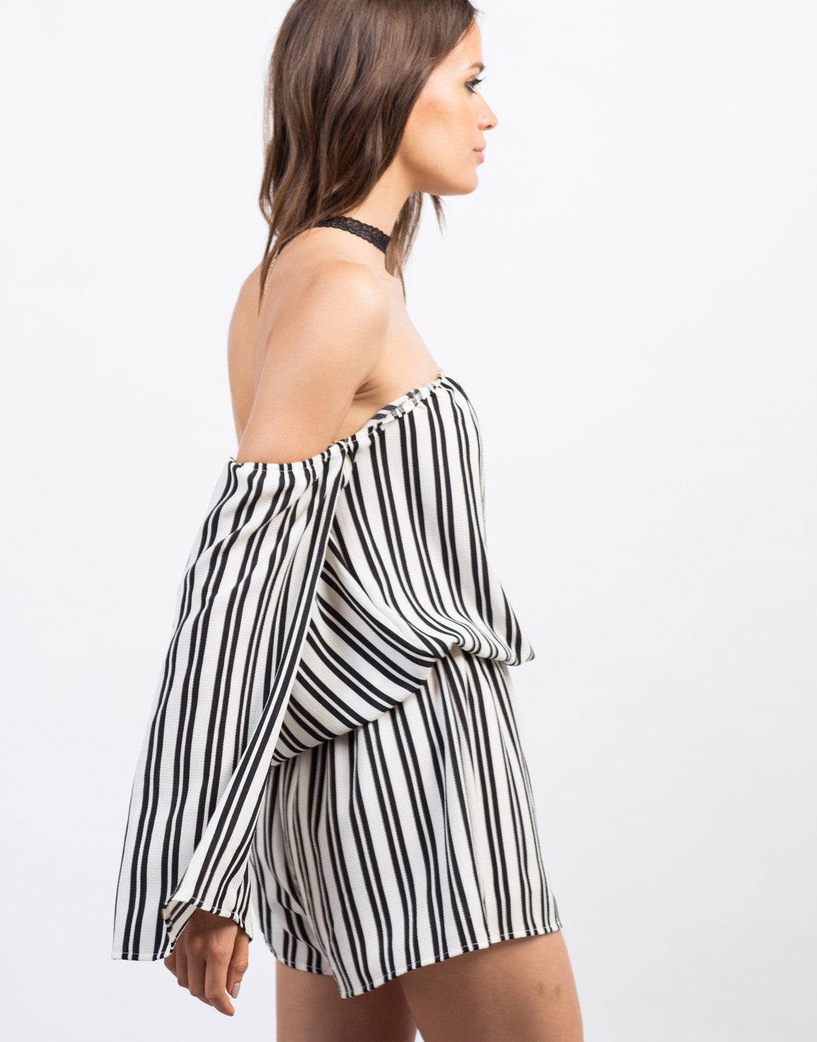 Detail of Striped Gauze Romper