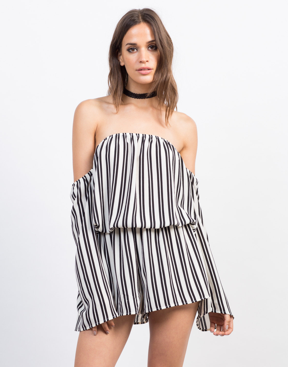 Front View of Striped Gauze Romper