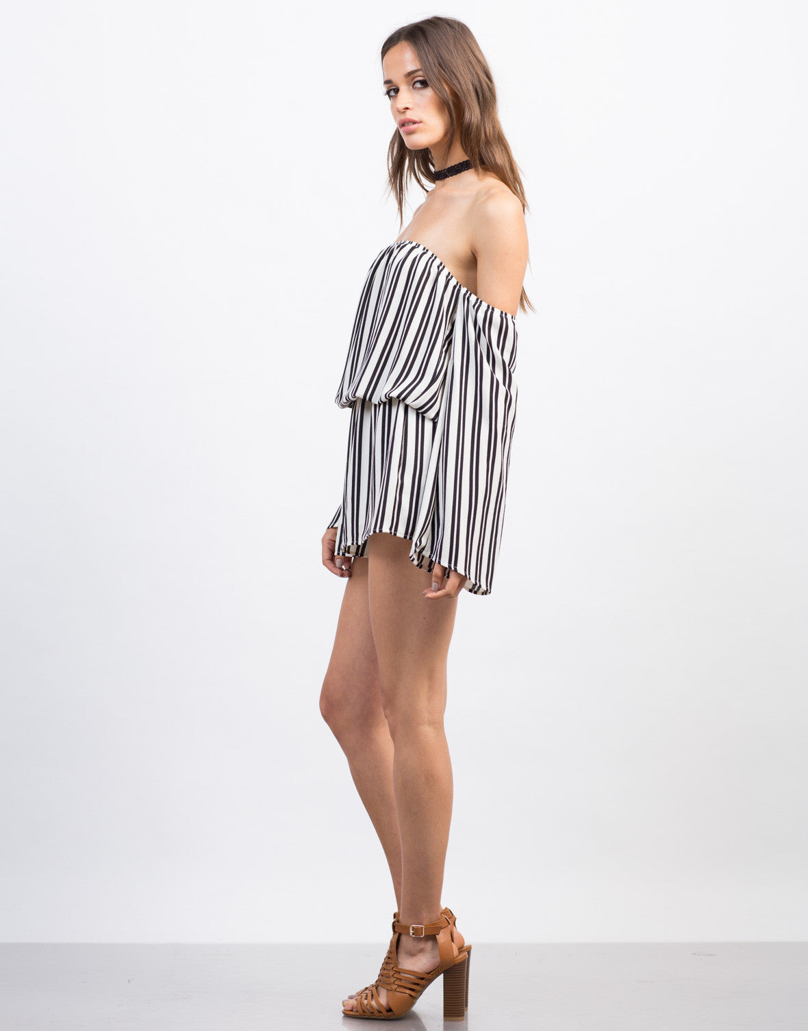 Side View of Striped Gauze Romper