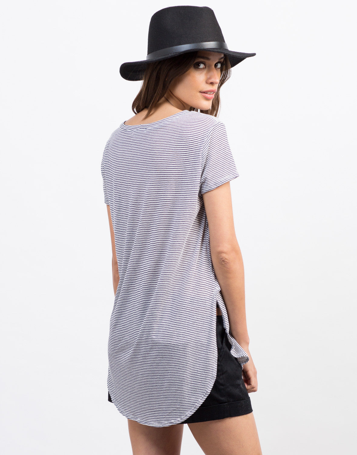 Back View of Striped Hi-Low Tee