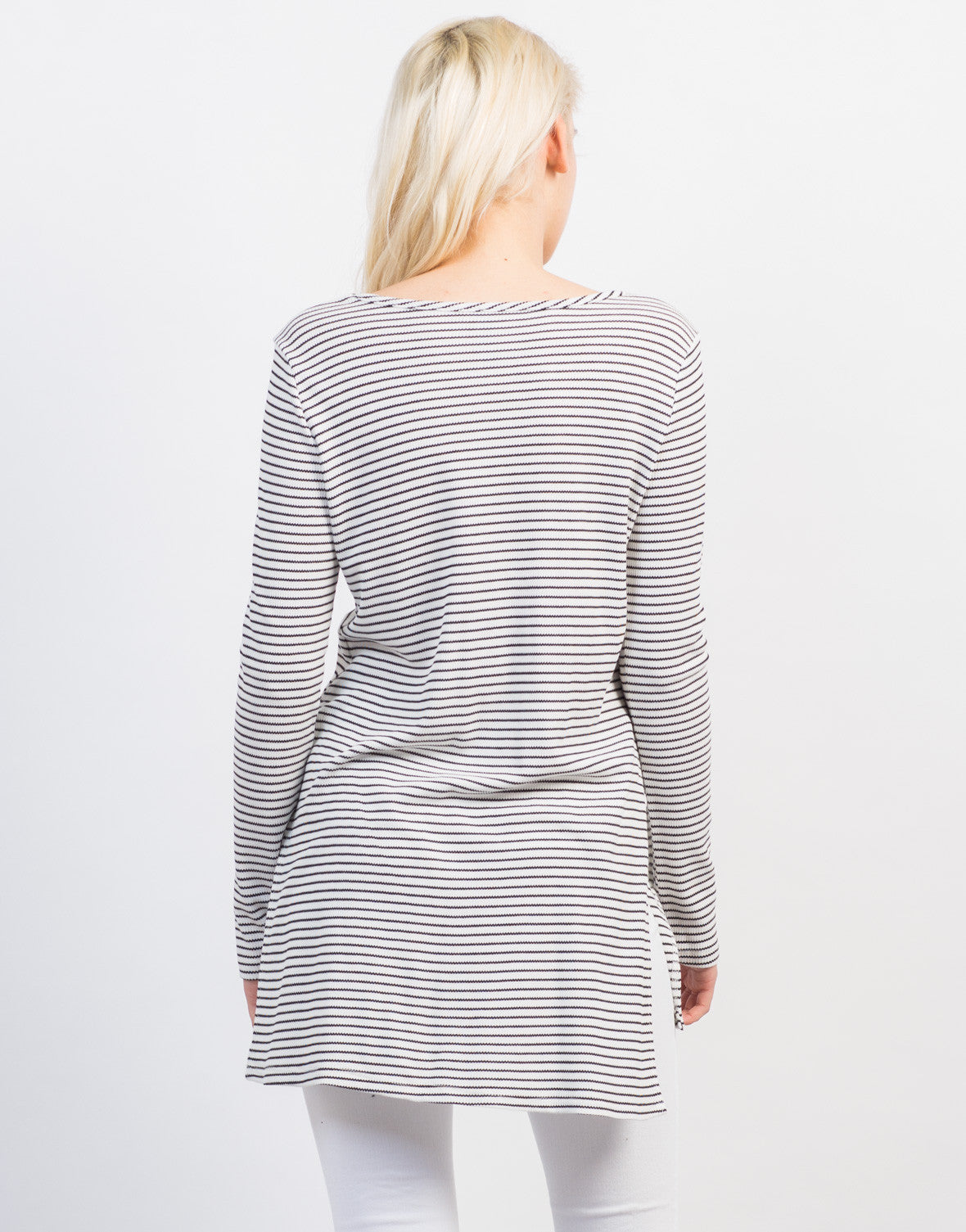 Back View of Striped High Slit Ribbed Top