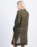 Back View of Striped Knit Long Cardigan