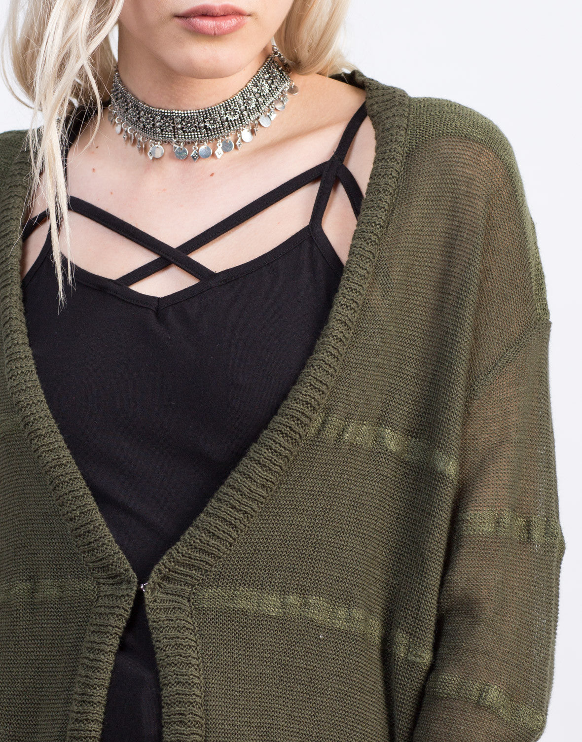 Detail of Striped Knit Long Cardigan