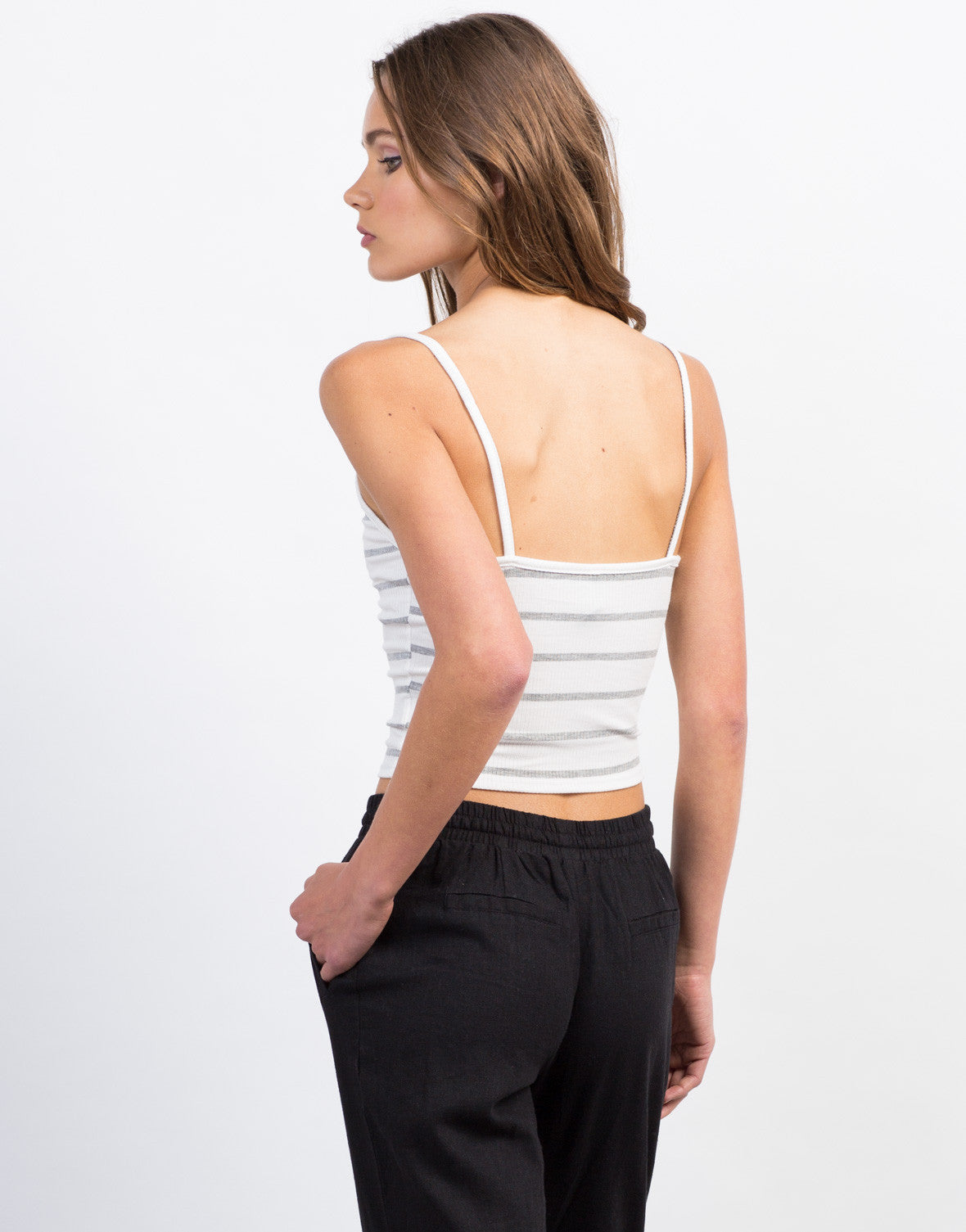 Back View of Striped Lace-Up Crop Top