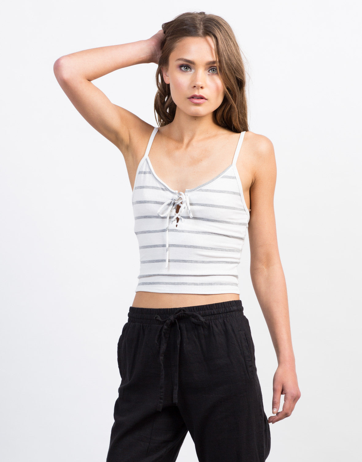 Front View of Striped Lace-Up Crop Top