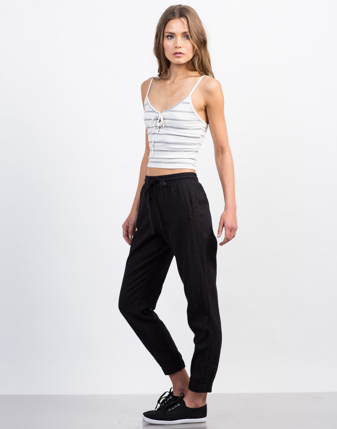 Side View of Striped Lace-Up Crop Top