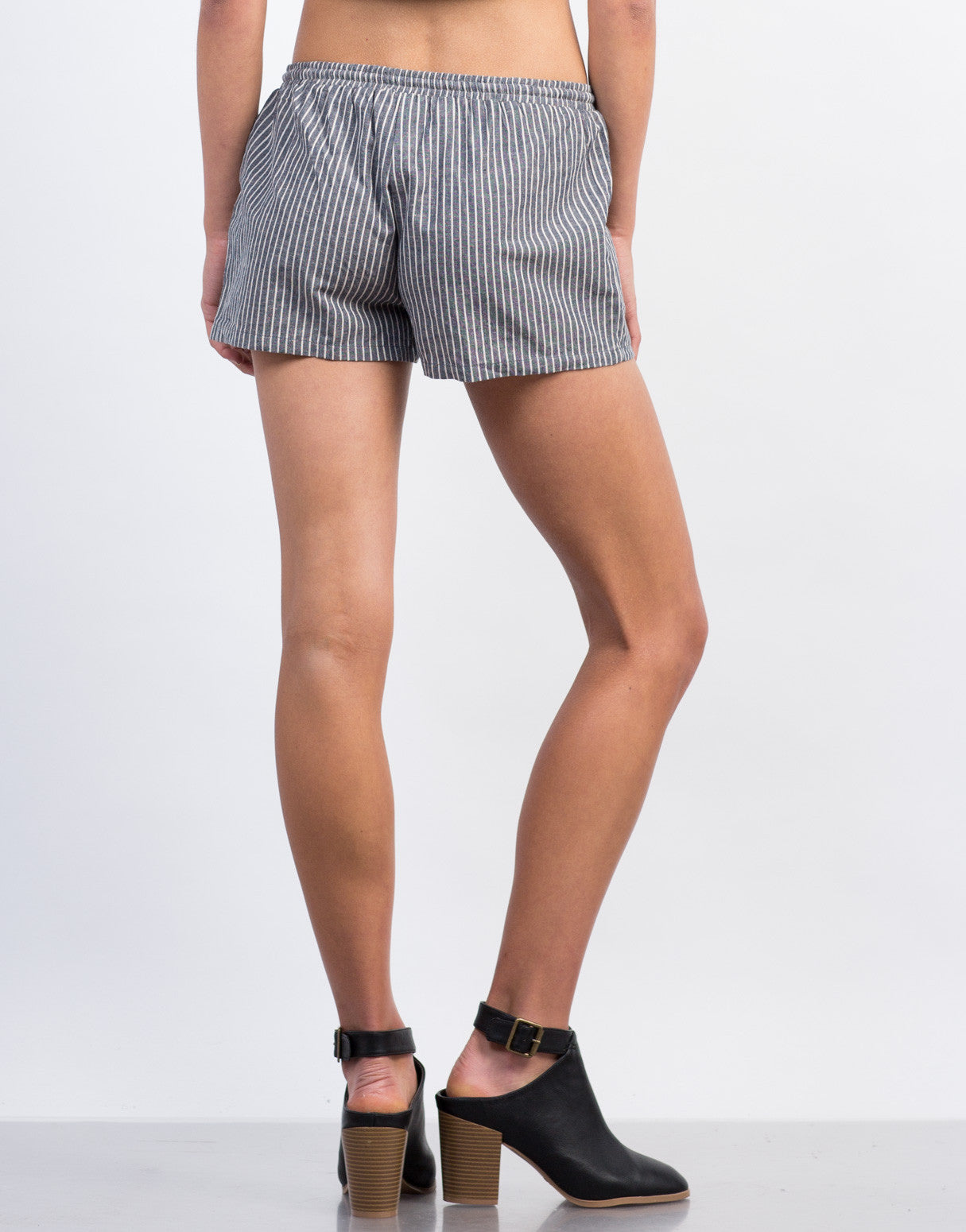 Back View of Striped Linen Shorts