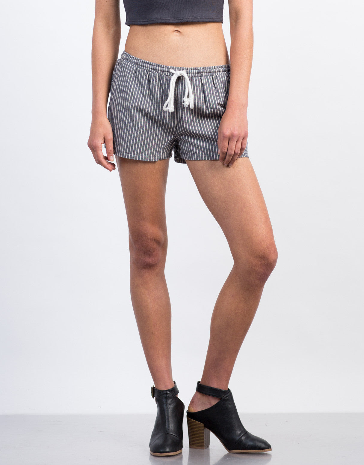 Front View of Striped Linen Shorts