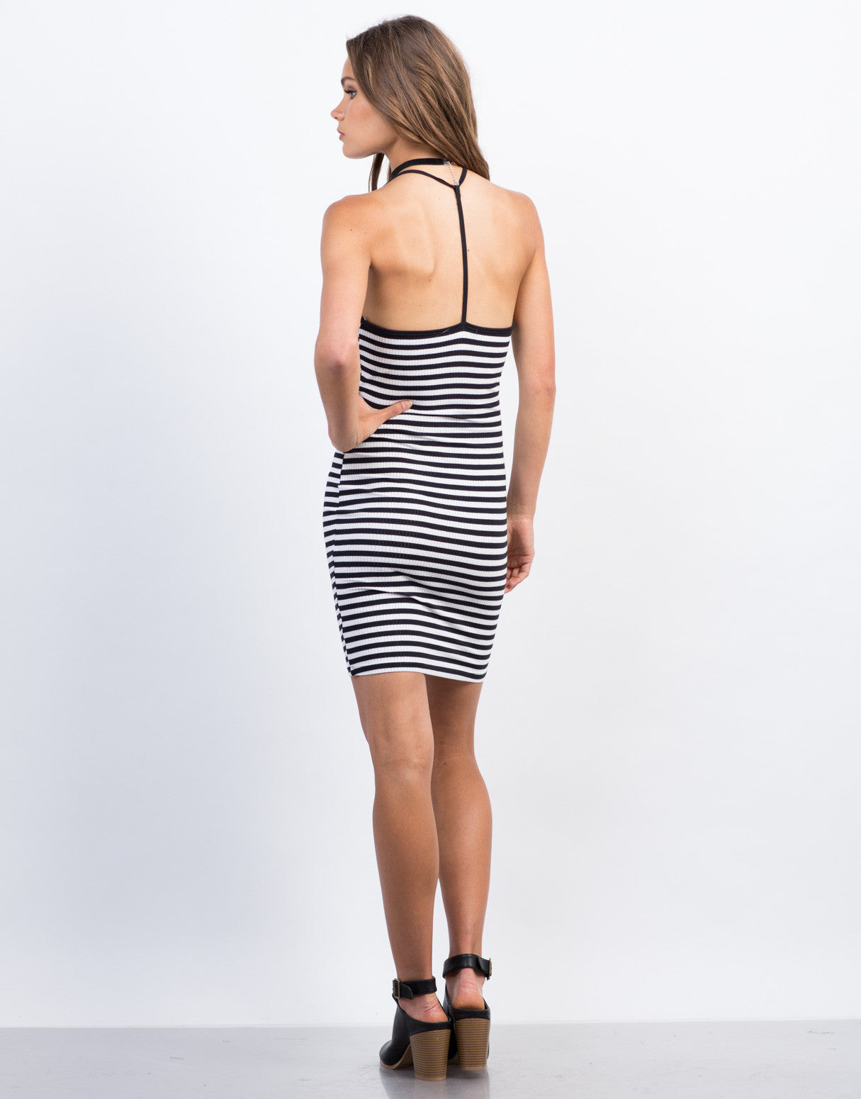 Back View of Striped Mini Day Dress