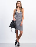 Front View of Striped Mini Day Dress