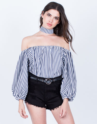 Front View of Striped Off-the-Shoulder Blouse