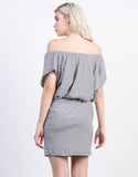 Back View of Striped Off the Shoulder Dress