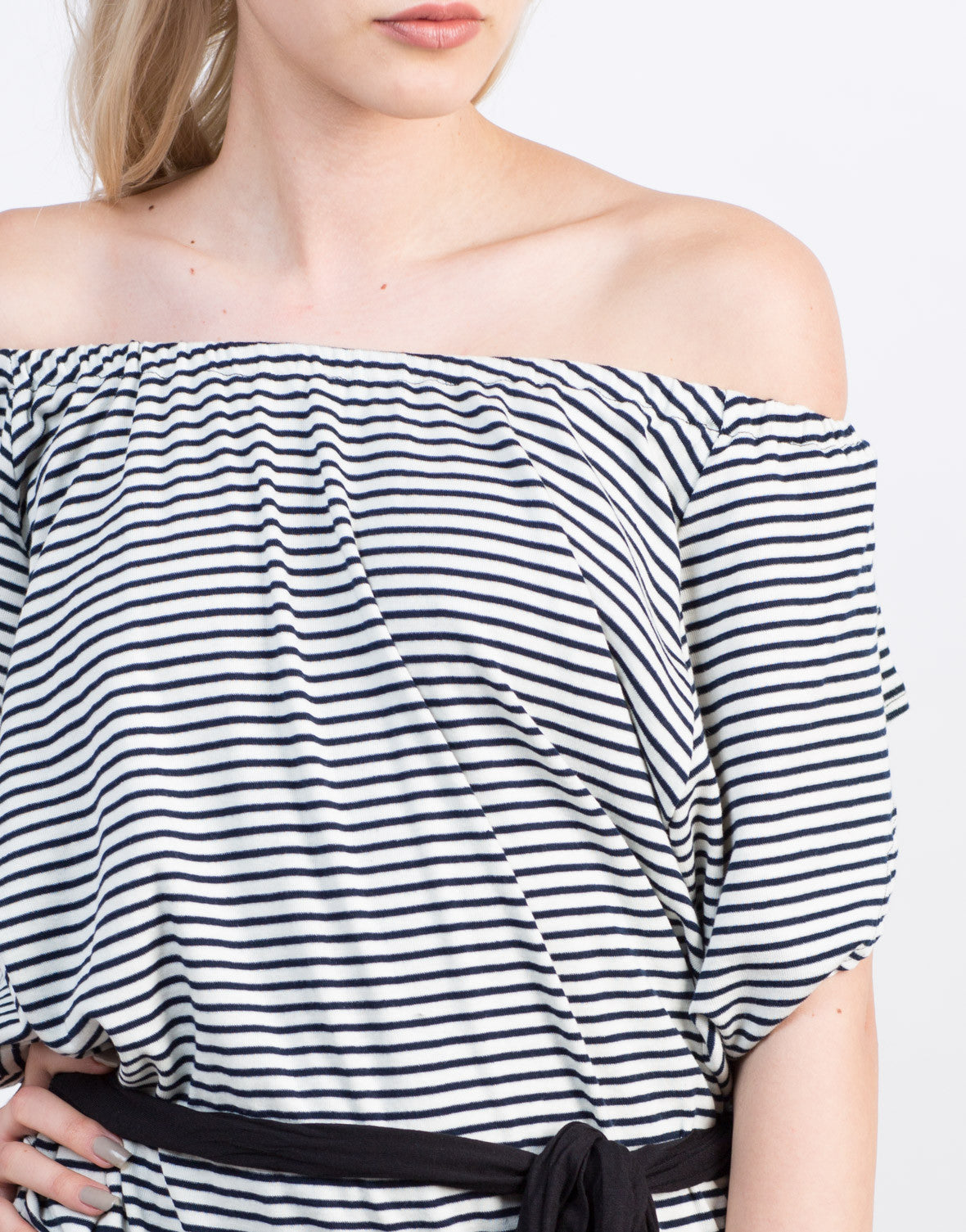 Detail of Striped Off the Shoulder Dress