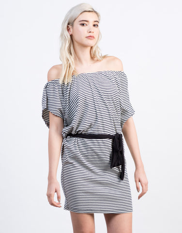 Front View of Striped Off the Shoulder Dress