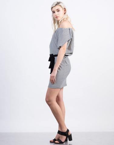 Side View of Striped Off the Shoulder Dress