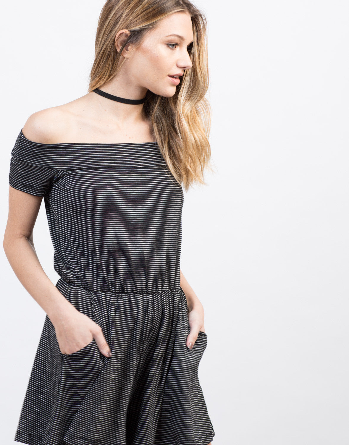 Detail of Striped Off-the-Shoulder Romper