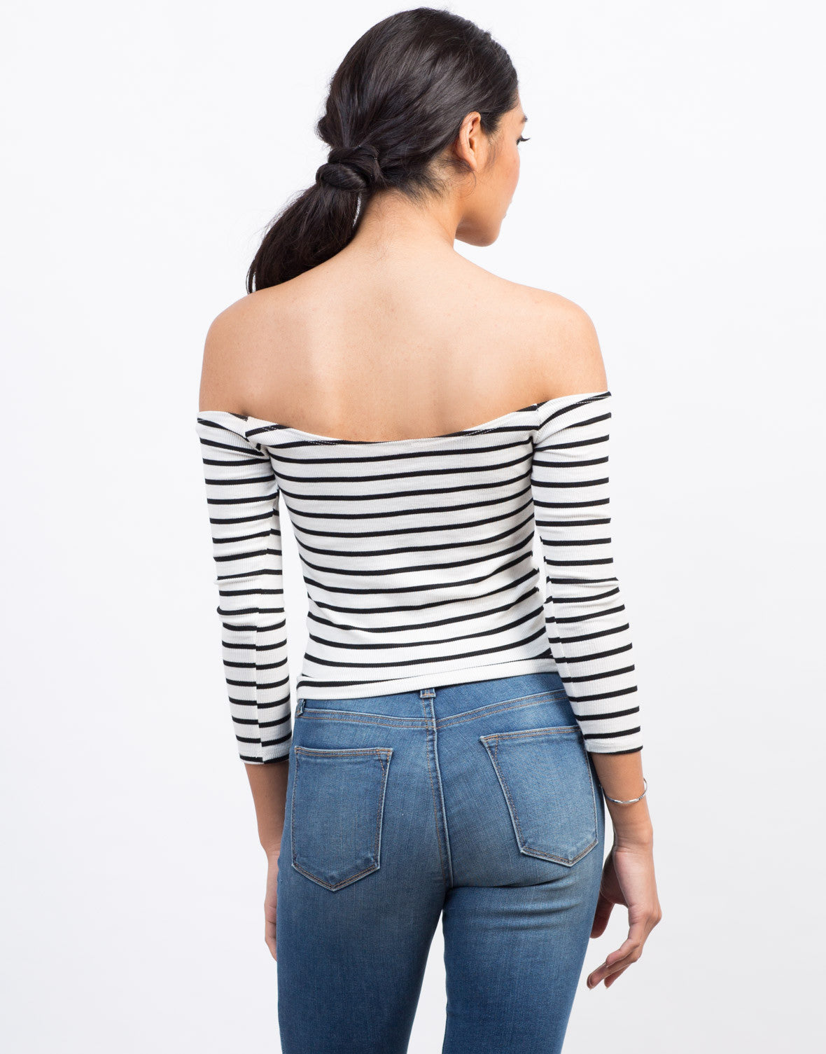 Back View of Striped Off-the-Shoulder Top