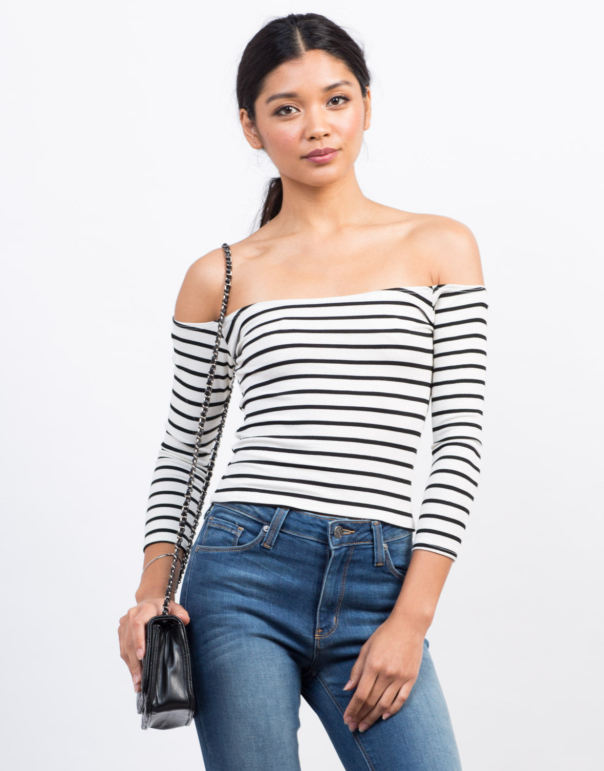 Front View of Striped Off-the-Shoulder Top