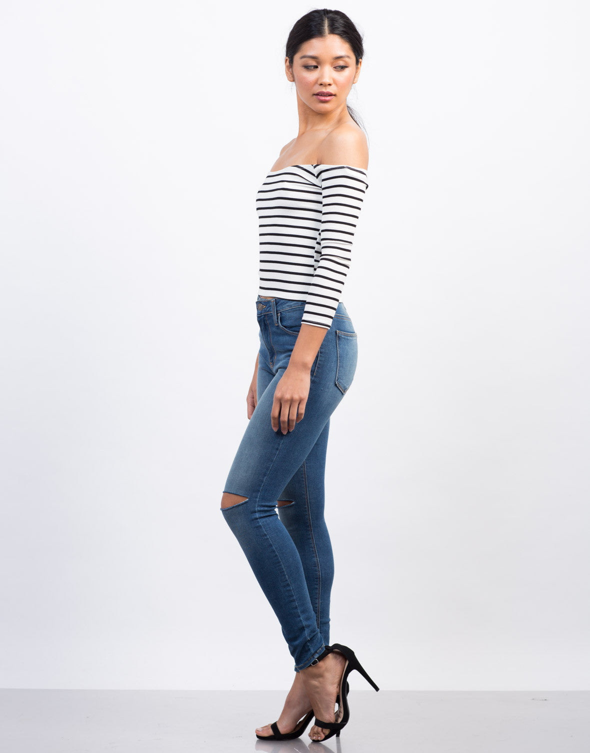 Side View of Striped Off-the-Shoulder Top