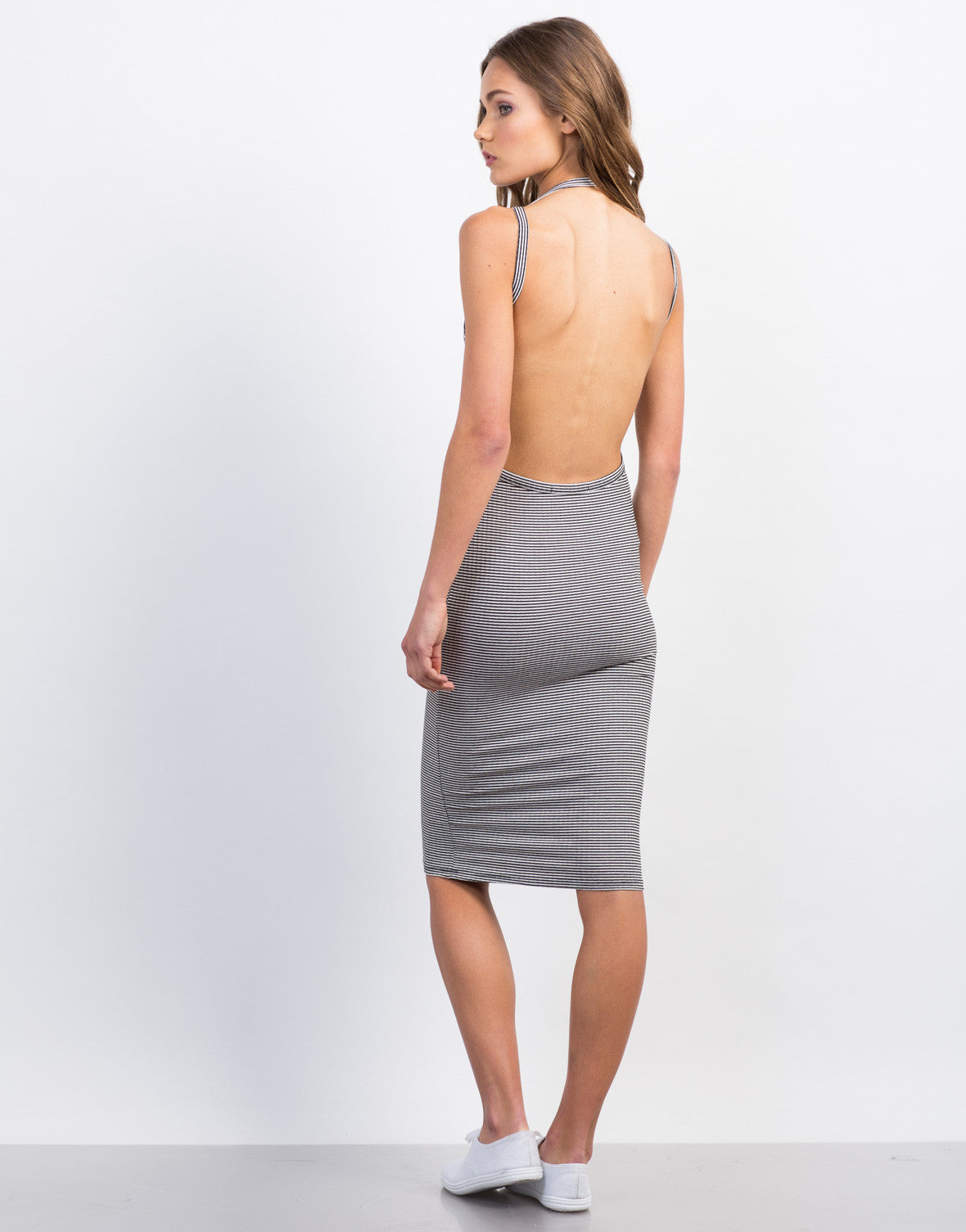 Back View of Striped Open Back Midi Bodycon Dress