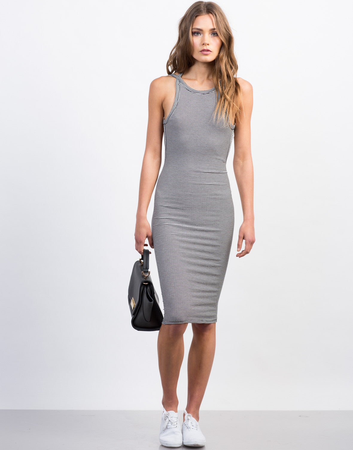 Front View of Striped Open Back Midi Bodycon Dress
