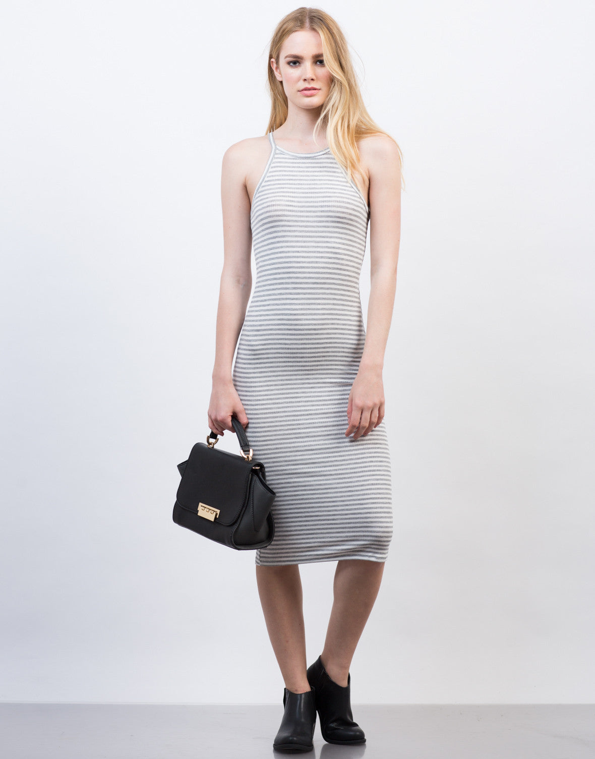 Front View of Striped Rib Knit Midi Dress