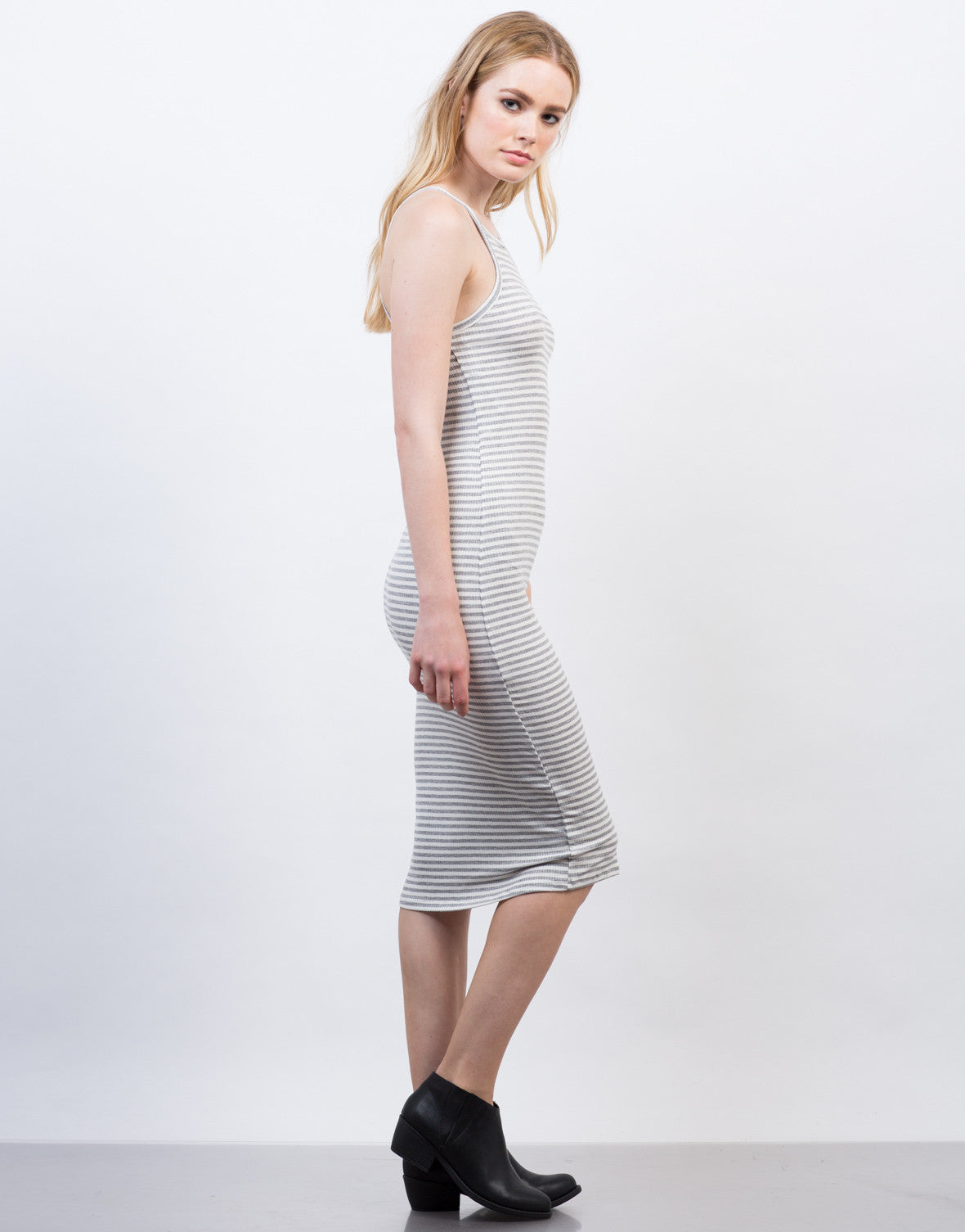 Side View of Striped Rib Knit Midi Dress
