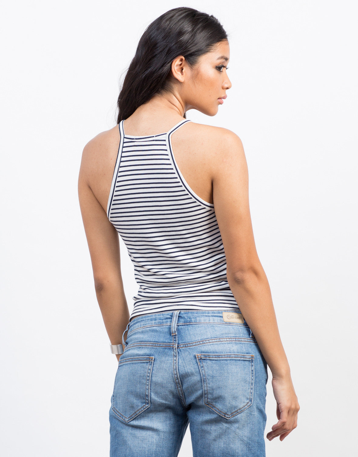 Back View of Striped Ribbed Tank