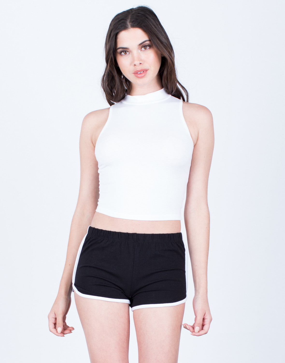 Front View of Striped Sporty Shorts