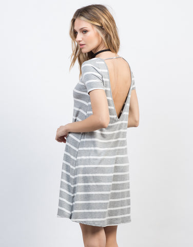Back View of Striped Swing Tee Dress