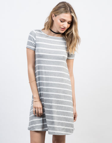 Front View of Striped Swing Tee Dress