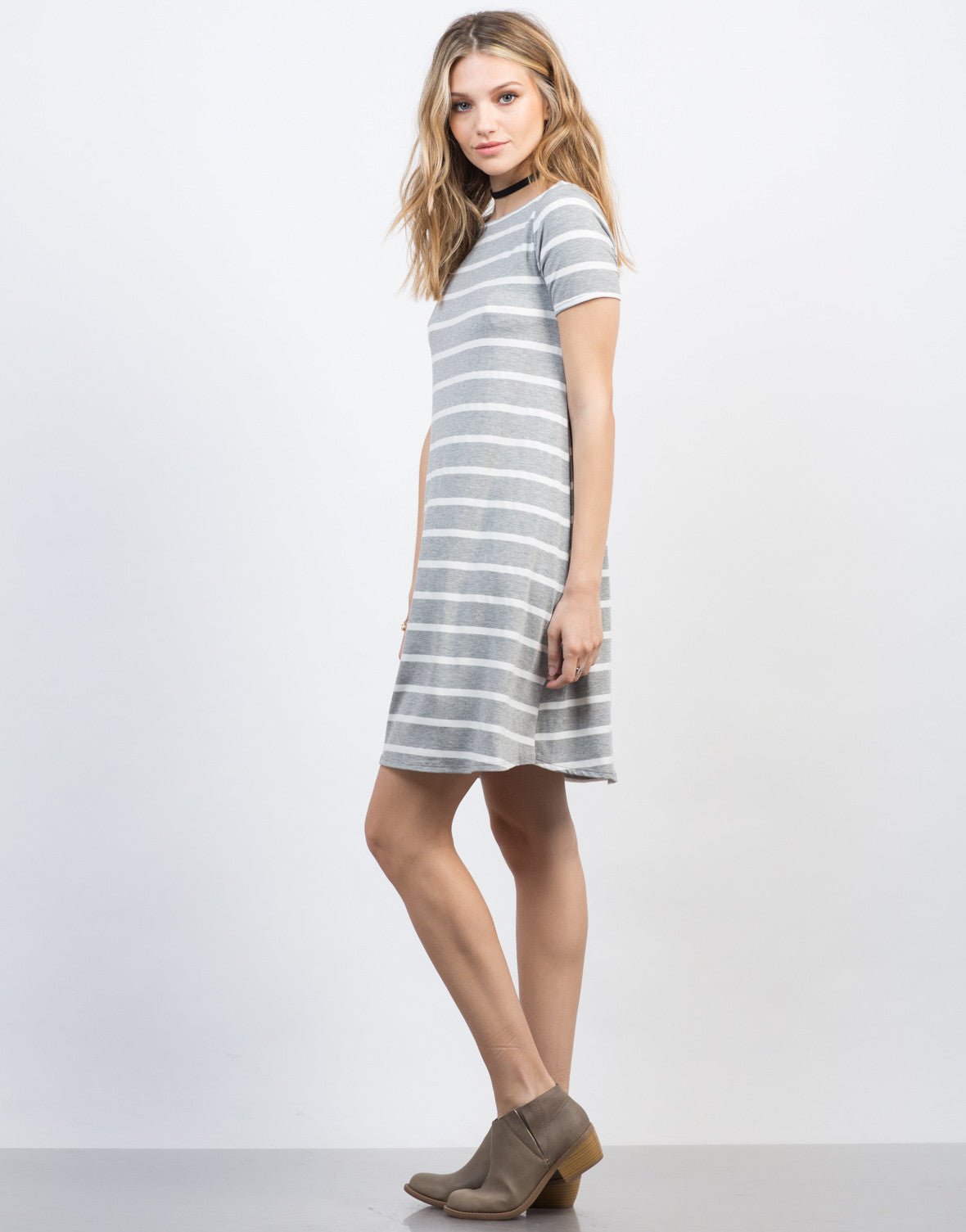 Side View of Striped Swing Tee Dress