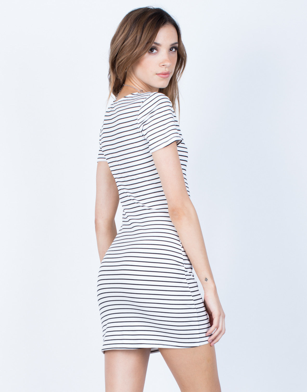 Back View of Striped Tee Dress