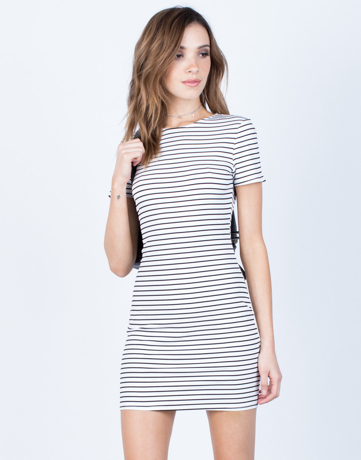 Front View of Striped Tee Dress