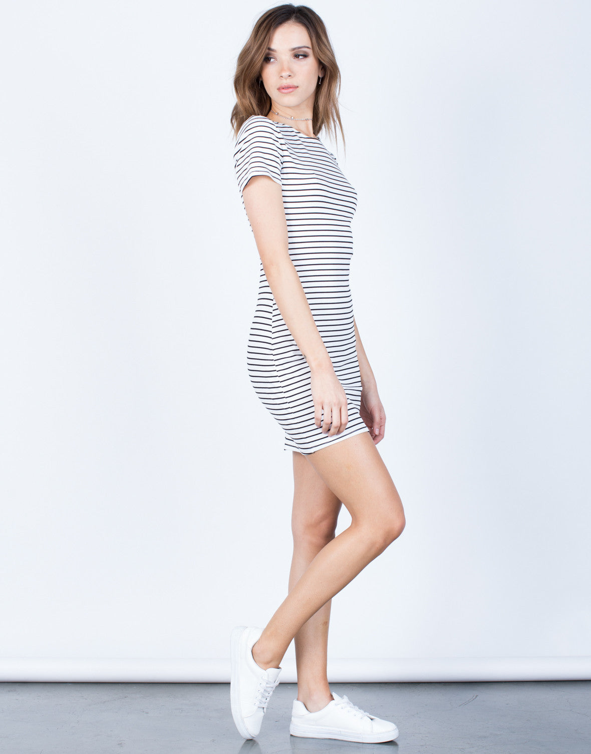 Side View of Striped Tee Dress