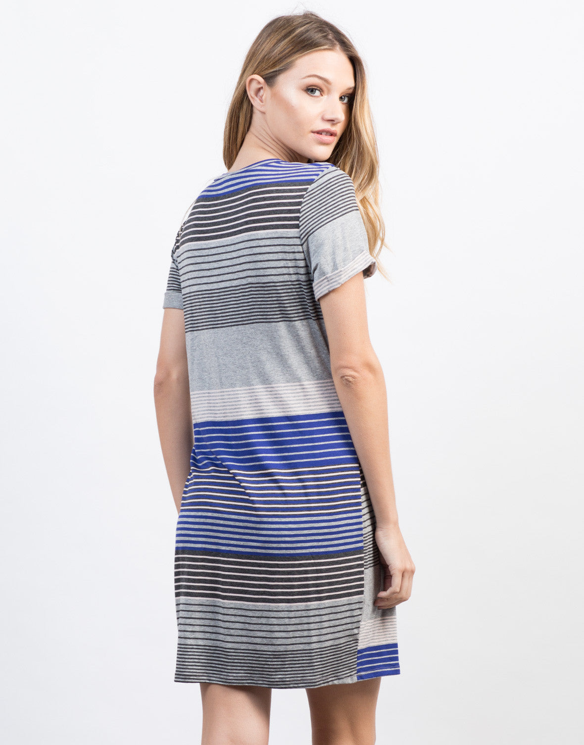 Back View of Striped Twist Front Dress