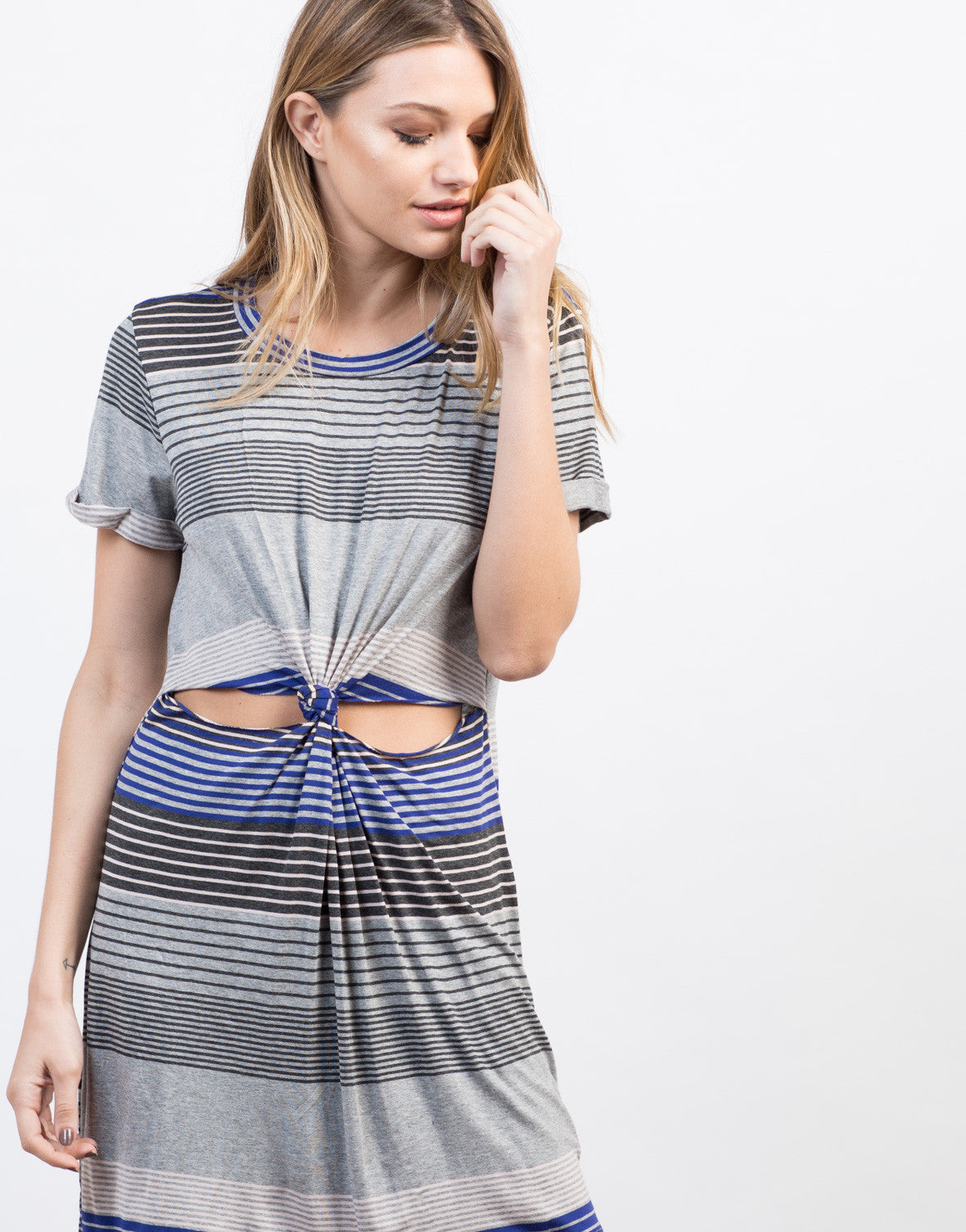 Detail of Striped Twist Front Dress