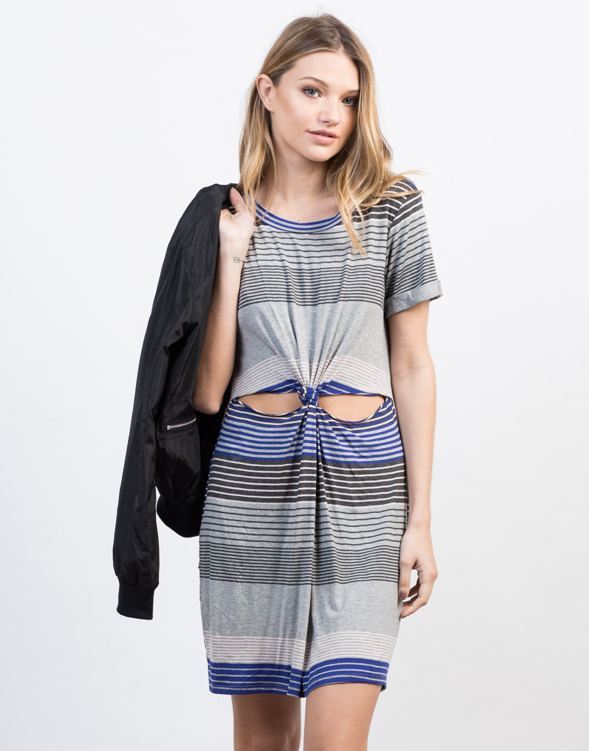 Front View of Striped Twist Front Dress