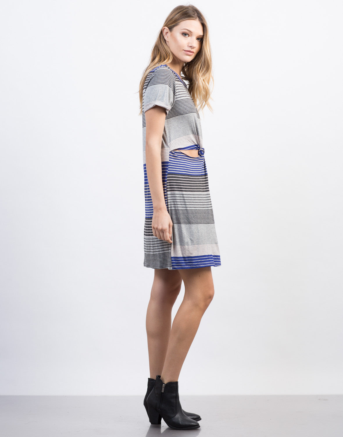 Side View of Striped Twist Front Dress