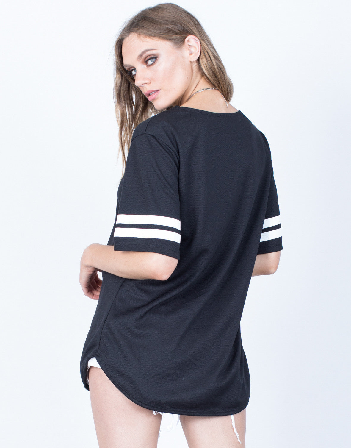 Back View of Striped Up Baseball Tee