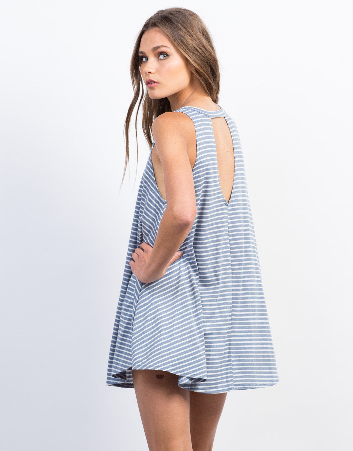 Back View of Striped V-Back Swing Dress