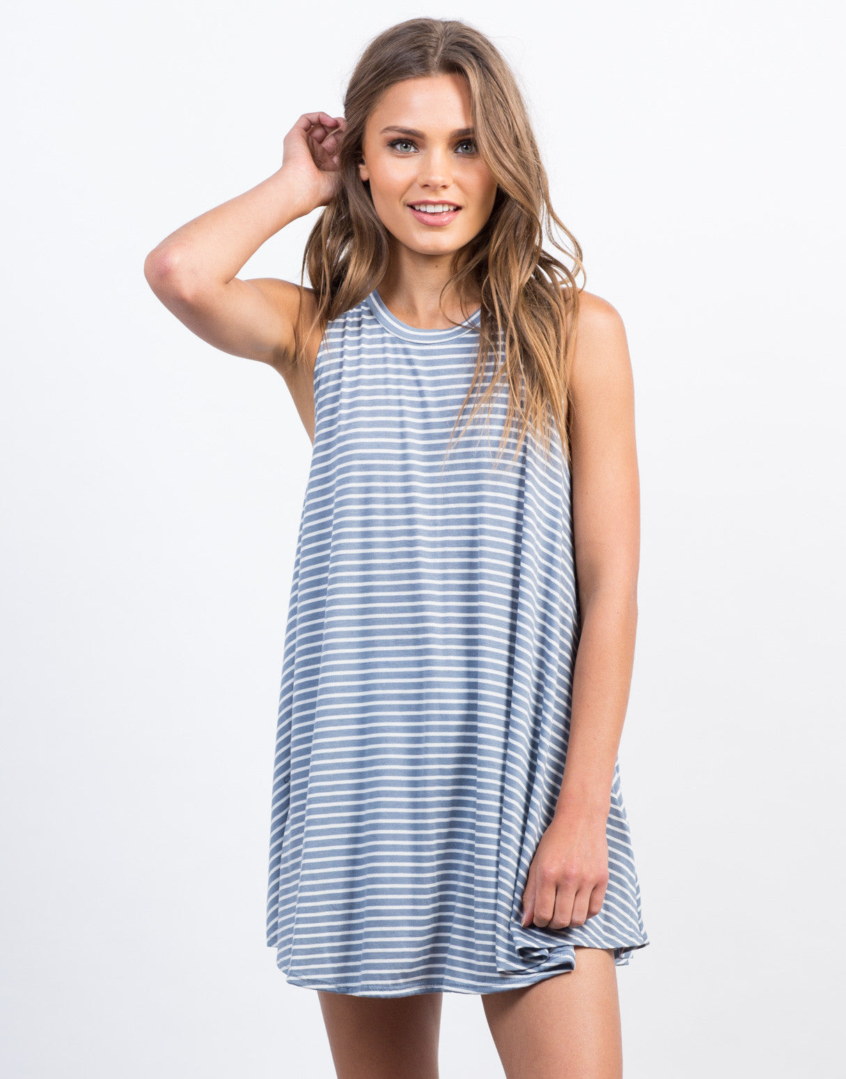 Front  View of Striped V-Back Swing Dress