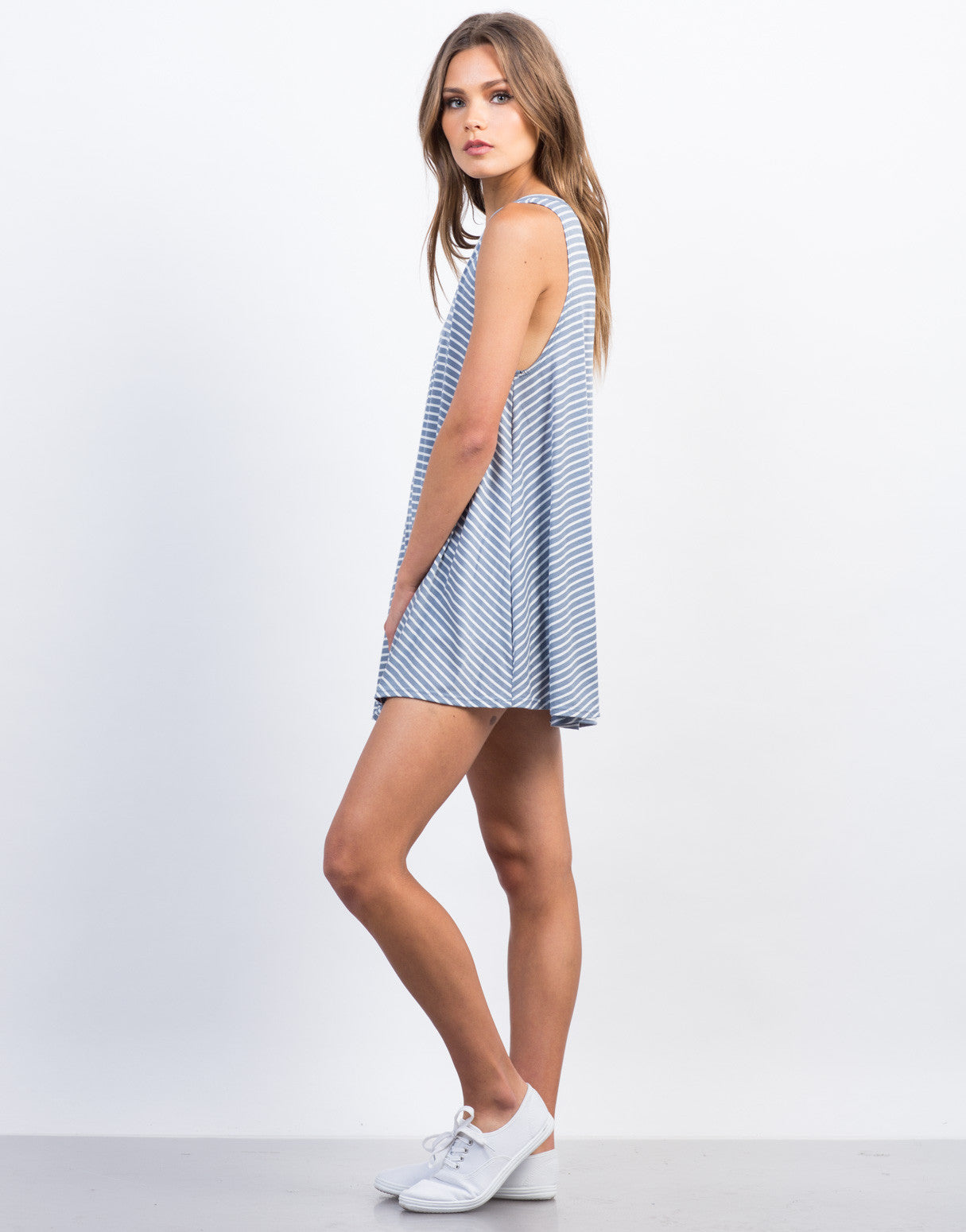 Side  View of Striped V-Back Swing Dress